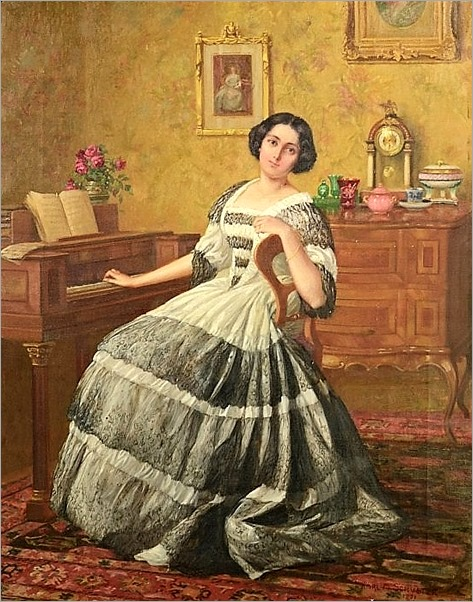 PORTRAIT OF A YOUNG LADY SITTING BY A PIANO. 1921-Karl Maria Schuster (austrian, 1871-1953)