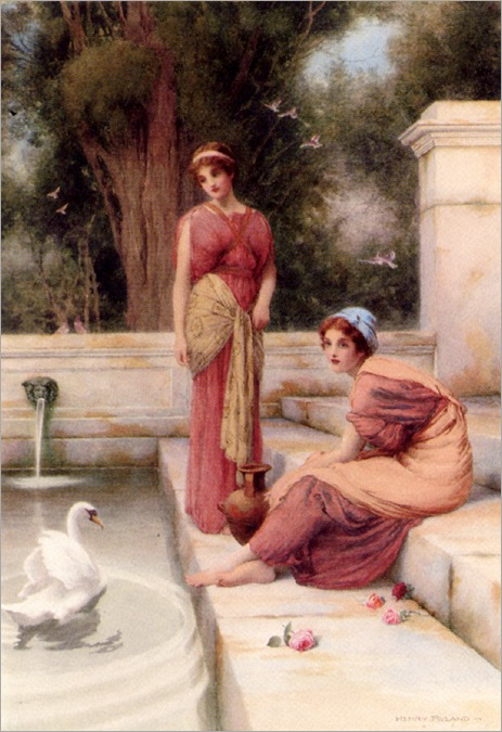 Ryland_Henry_Two_Classical_Maidens_And_A_Swan