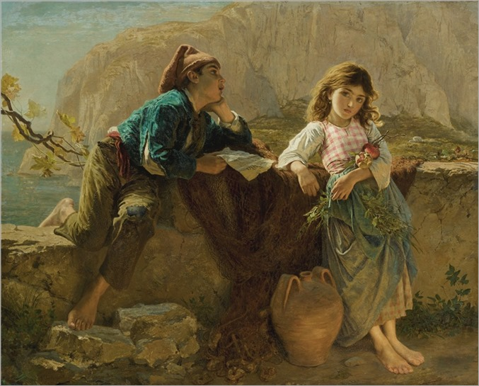 Sophie Anderson (British, 1823-1903) Fisherman's Children, Capri