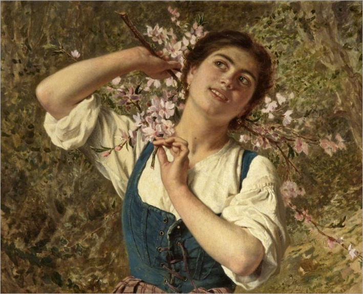 Sophie Gengembre Anderson - Capri Girl with Flowers