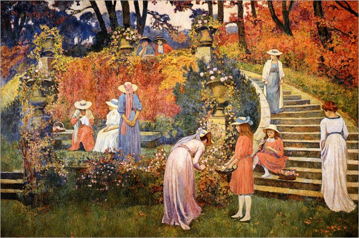 The Garden of Felicien Rops at Essone - Theo van Rysselberghe
