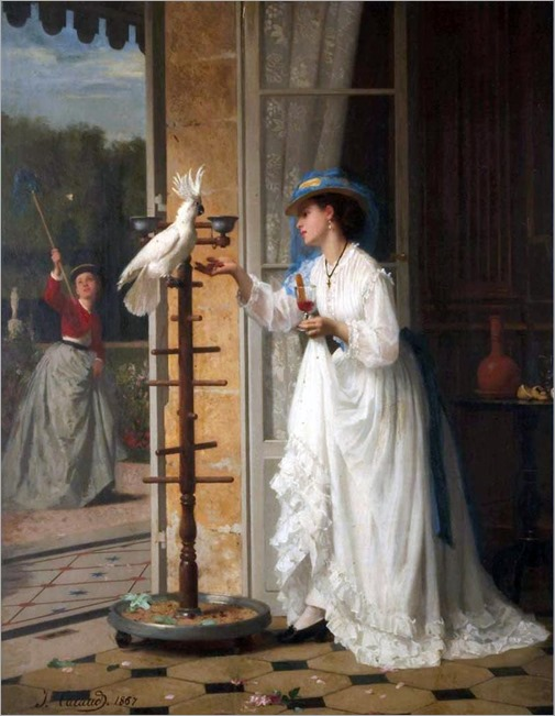 The Pet Cockatoo -1867- Joseph Caraud (french painter)