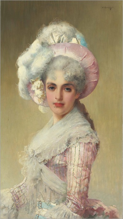 (vittorio_matteo_corcos_an_elegant_lady_in_a_pink_hat_and_dress)