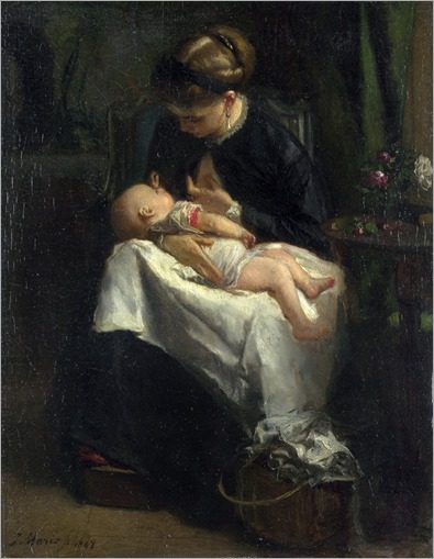 A Young Woman Nursing a Baby - Jacob Maris