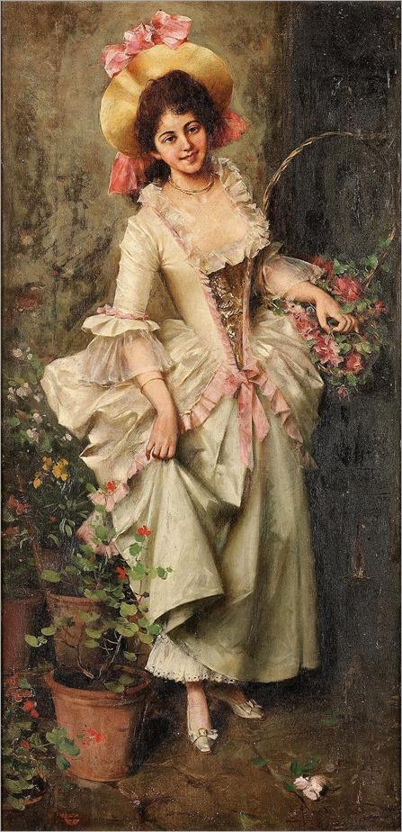 Adriano Cecchi (italian, 1850-1936)- Italian Flower Vendor