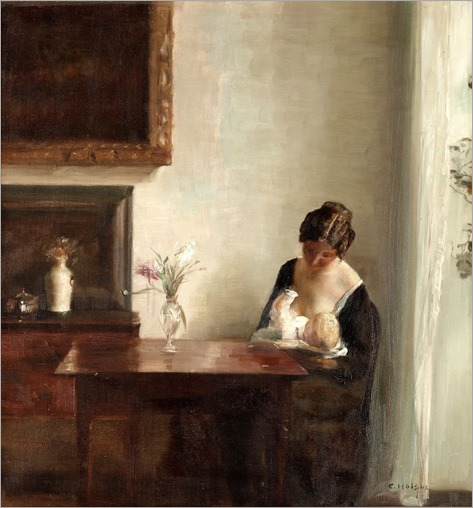 Carl Vilhelm Holsoe_Interior with woman and child