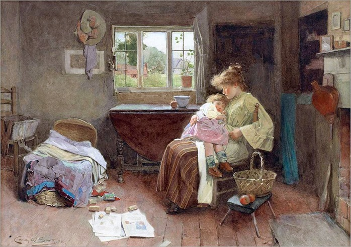 Carlton Alfred Smith (English, 1853-1946)- A Quiet Moment