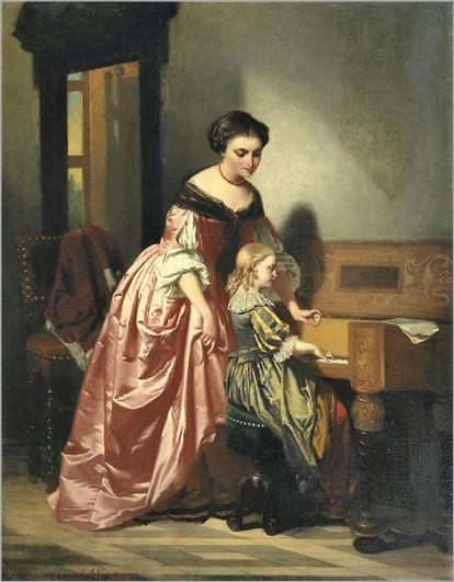 Casimir van den Daele ~ The piano lesson. 1852