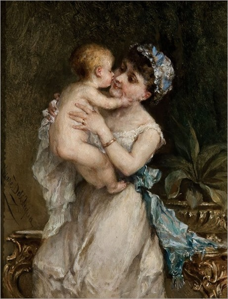 Cesare dall'Acqua (1821 - 1904) - A Mother's Joy