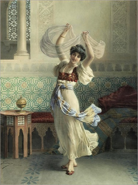 dancing in the harem-francesco ballesio (italian, 1860-1923)