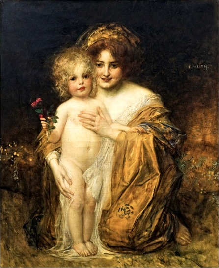 Eduard Veith (1856-1925) Mother and child