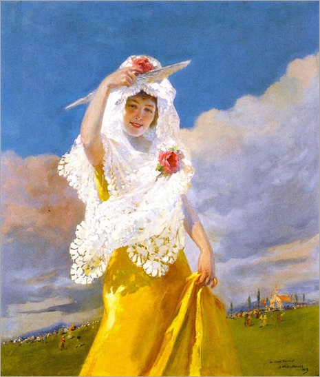 Espanola con Mantilla (also known as The White Mantilla) Julio Vila Prades - 1913