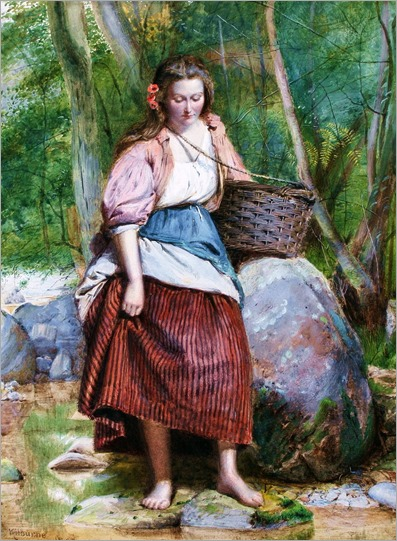 George Goodwin Kilburne (British, 1839-1924) - Country girl by a stream