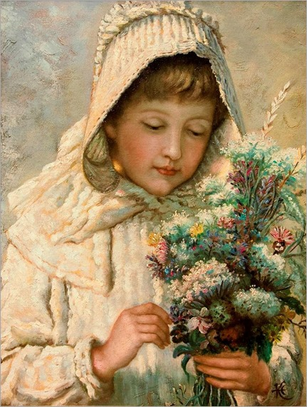 girl with bouquet-John Calcott Horsley
