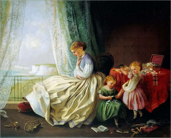 'In the Nursery' – two little girls and mother