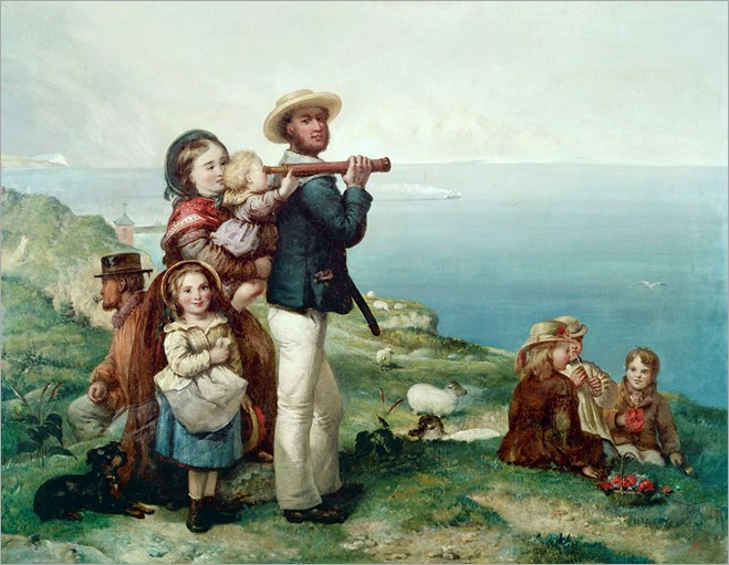 'Watching Ships' – a family on clifftop