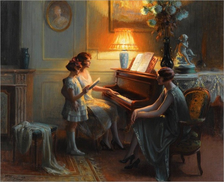La lecon de chant. Delphin Enjolras (French, 1857-1945). Oil on canvas