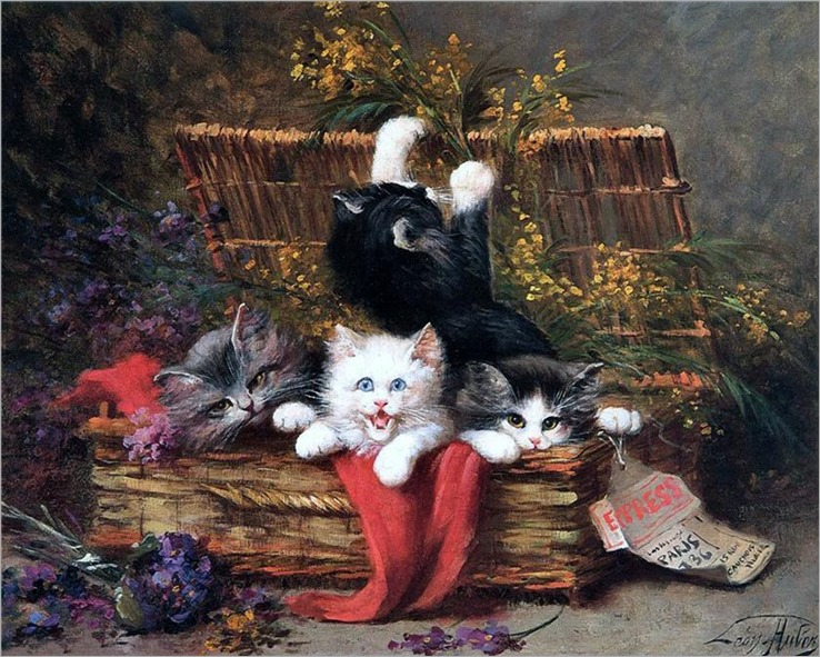 Léon-Charles Huber-kittens at play