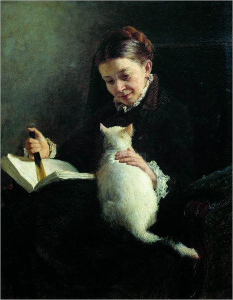 Portrait of a Lady with a Cat - 1880- Nikolai Yaroshenko (russian painter)