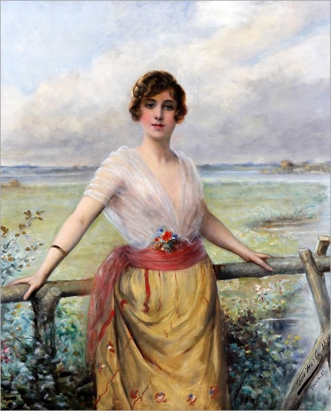 (Portrait Of A Young Lady By A Fence At A Riverside)-Leon Herbo