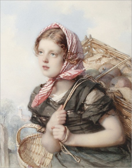Portrait of young peasant girl-Guido Bach (German, 1828 - 1905)