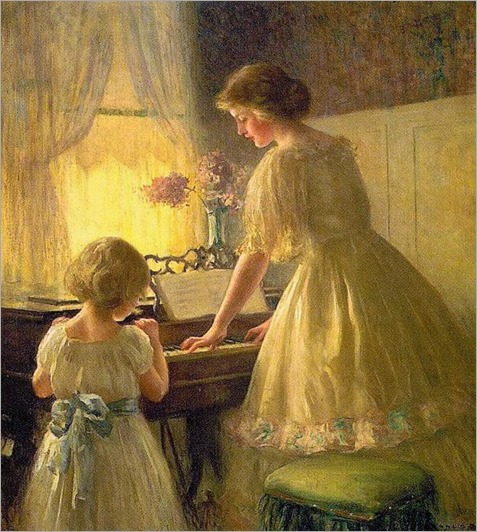 The Piano Lesson (1895). Francis Day (american painter)