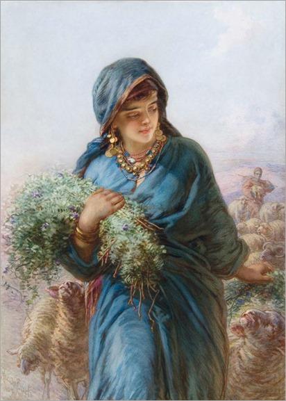 The Shepherdess-Guido Bach (German, 1828 - 1905)