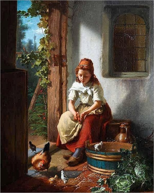THEODORE GERARD (Belgian 1828-1895) FEEDING THE CHICKENS