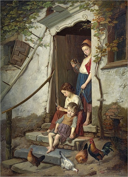 Théodore Gérard (Belgium, 1829-1895), The farm children-1867
