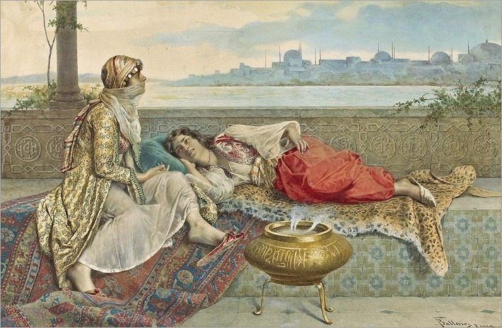 Two harem girls on a terrace, Constantinople-Francesco Ballesio