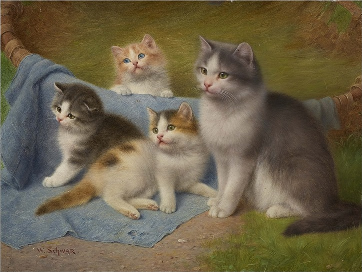 Wilhelm Friedrich Johann Schwar (1860-1943) Mother with her three kittens