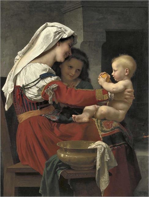 William Adolphe Bouguereau (1825-1905) Admiration maternelle - le bain. 1869