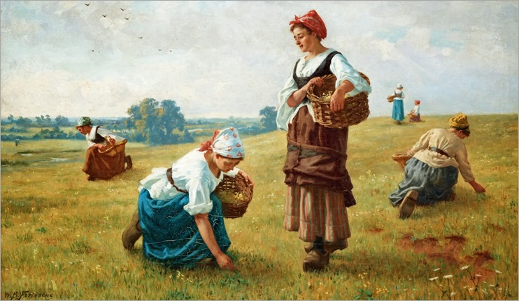 William Banks Fortescue (1850-1924)- Cowslip Gatherers 1884