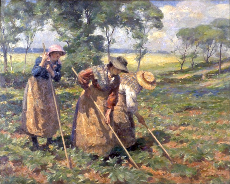 William Marshall Brown (scottish, 1863-1936)- Hoeing the Fields (Pitting Potatoes) ca. 1911