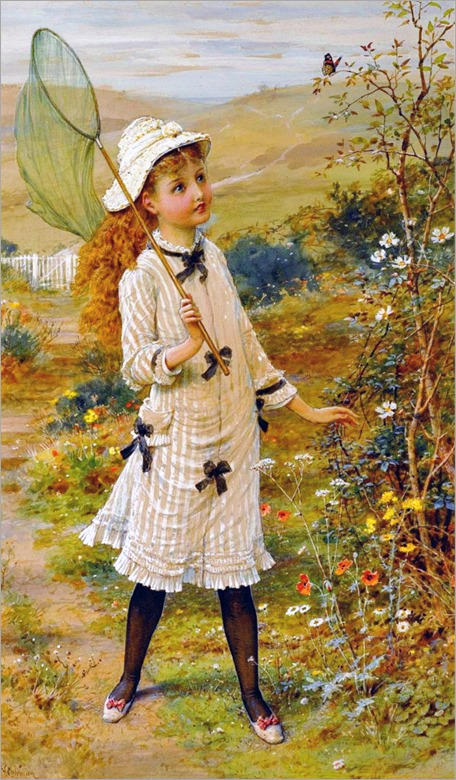 William Stephen Coleman  (english, 1829-1904)- The Butterfly Catcher