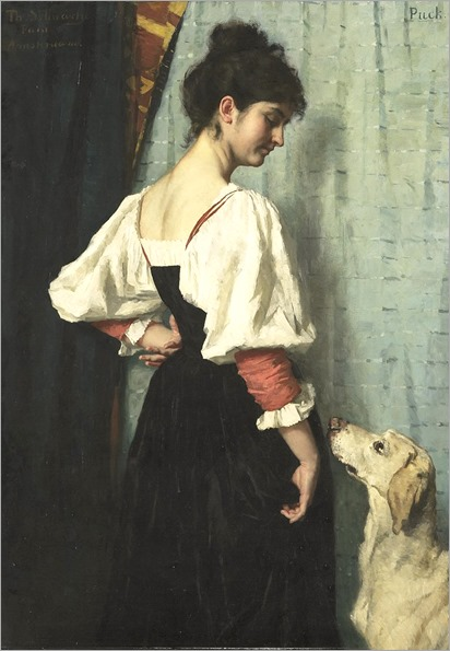 Young Italian Woman with Her Dog Puck - 1885 - Therese Schwartz (dutch painter)