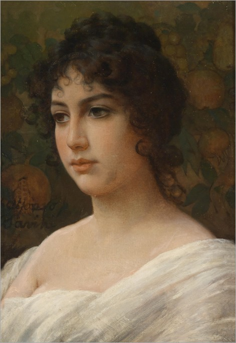 Alfonso-Savini-(Bologna 1836-1908) Portrait of a Girl
