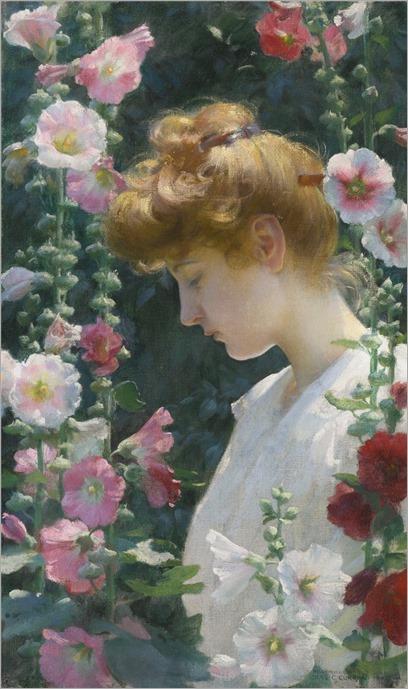 Charles Courtney Curran (1861-1942) Hollyhocks and Sunlight. 1902