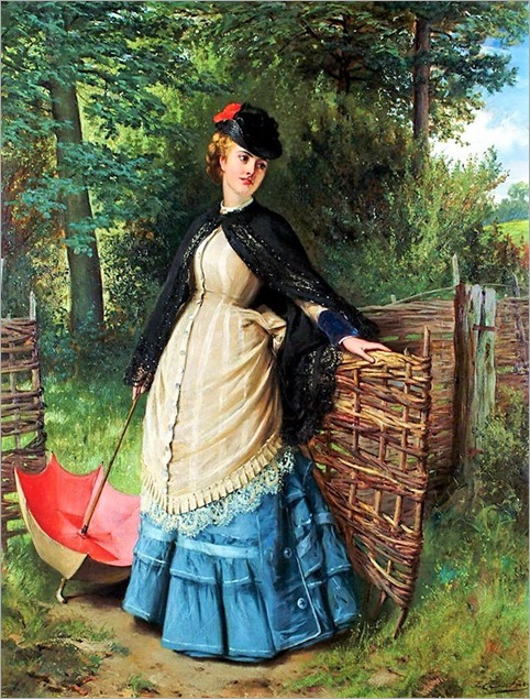 edward-charles-barnes-british-1830-1882-a-lady-at-a-gate