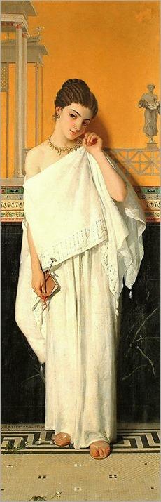 Gustavo Nacciarone (Italian, 1833-1929) - A Pompeian girl in a lavishly decorated interior