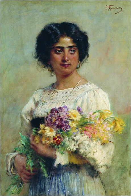 serbian girl with a bouquet - 1876 - Konstantin Yegorovich Makovsky