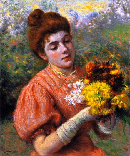 Woman with Bouquet - Federico Zandomeneghi (italian painter)