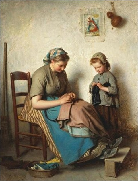 Charles Moreau_the knitting lesson