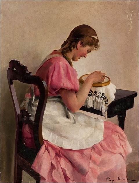 EMIL PAP Hungarian (1884-1945) Practicing Needlepoint