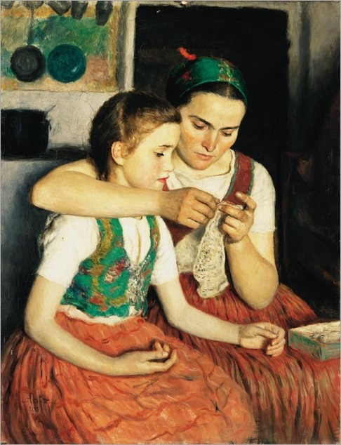 Girls -1931- Oszkar Glatz (hungarian painter)
