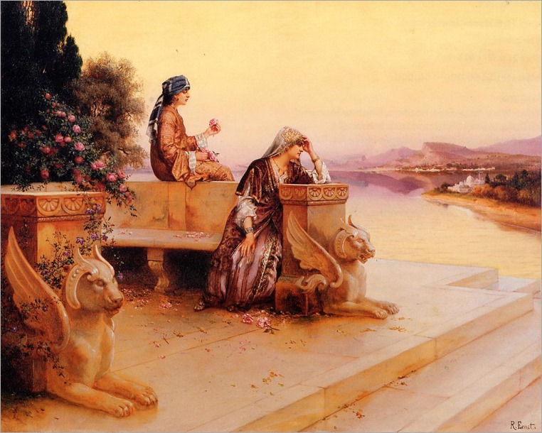 RudolfErnst_elegant_arab_ladies_on_a_terrace_at_sunset