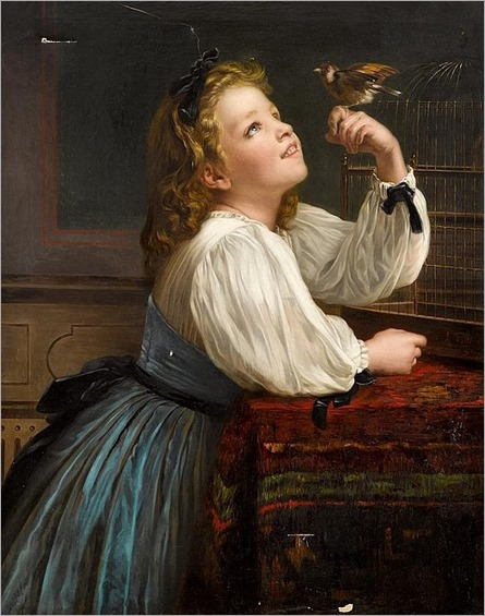 A. FOLLI (italian 19th century)-YOUNG GIRL WITH HER PARAKEET