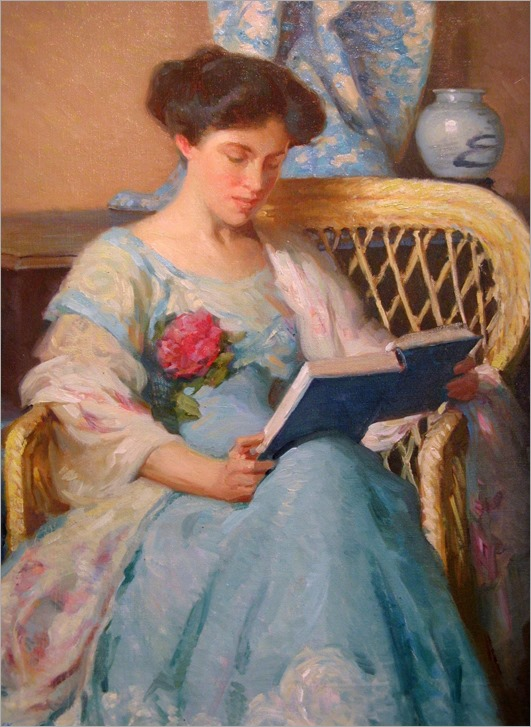 A Woman Reading (c. 1911). William Chadwick (American Impressionist, 1879-1962)
