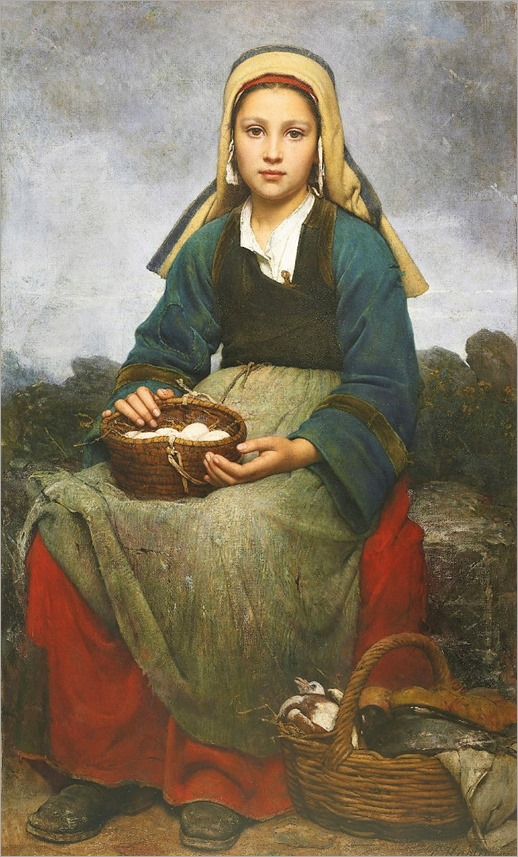 Emile-Auguste Hublin 1830 - 1891 A YOUNG GIRL HOLDING A BASKET OF EGGS-