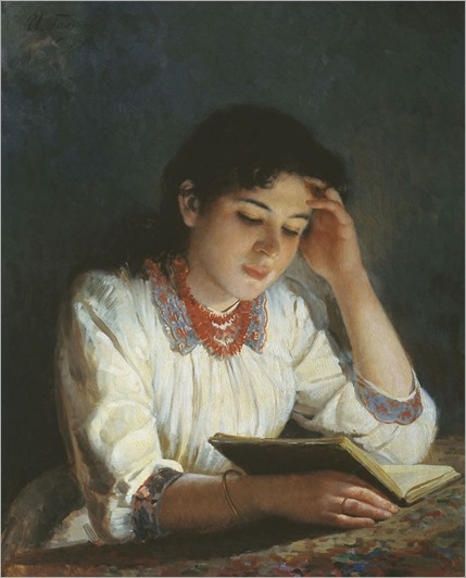 Reading (1890). Ilya Galkin (Russian, 1860-1915)